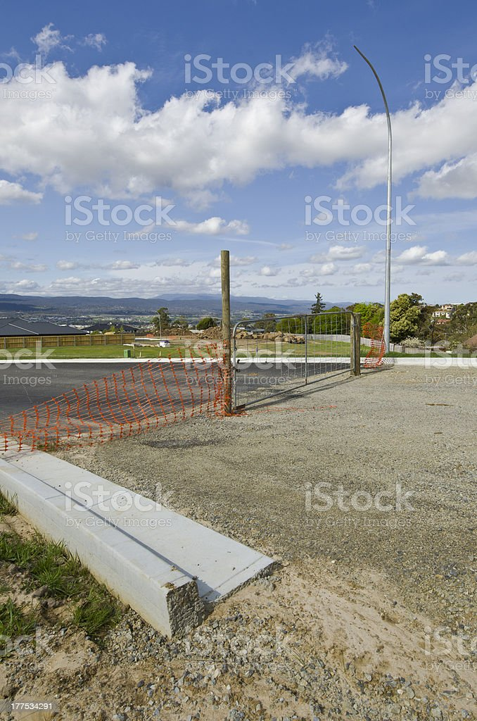 Guttering and roadworks at new housing subdivision royalty-free stock photo