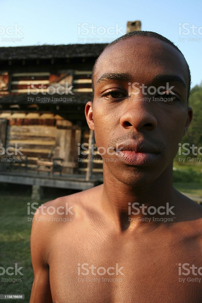 Guy and Cabin royalty-free stock photo