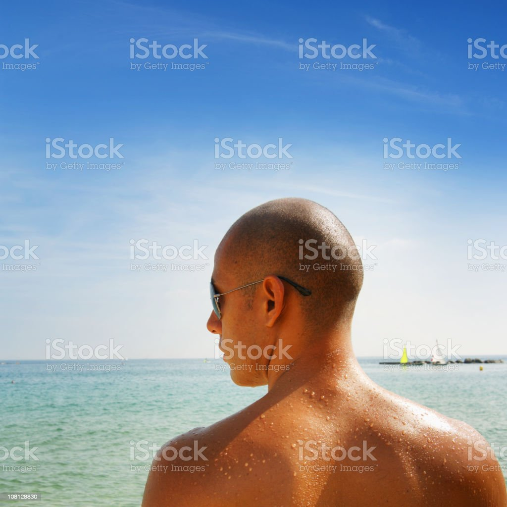 Guy at beach royalty-free stock photo