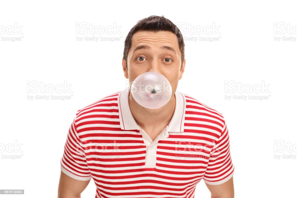 Guy blowing up a bubble stock photo
