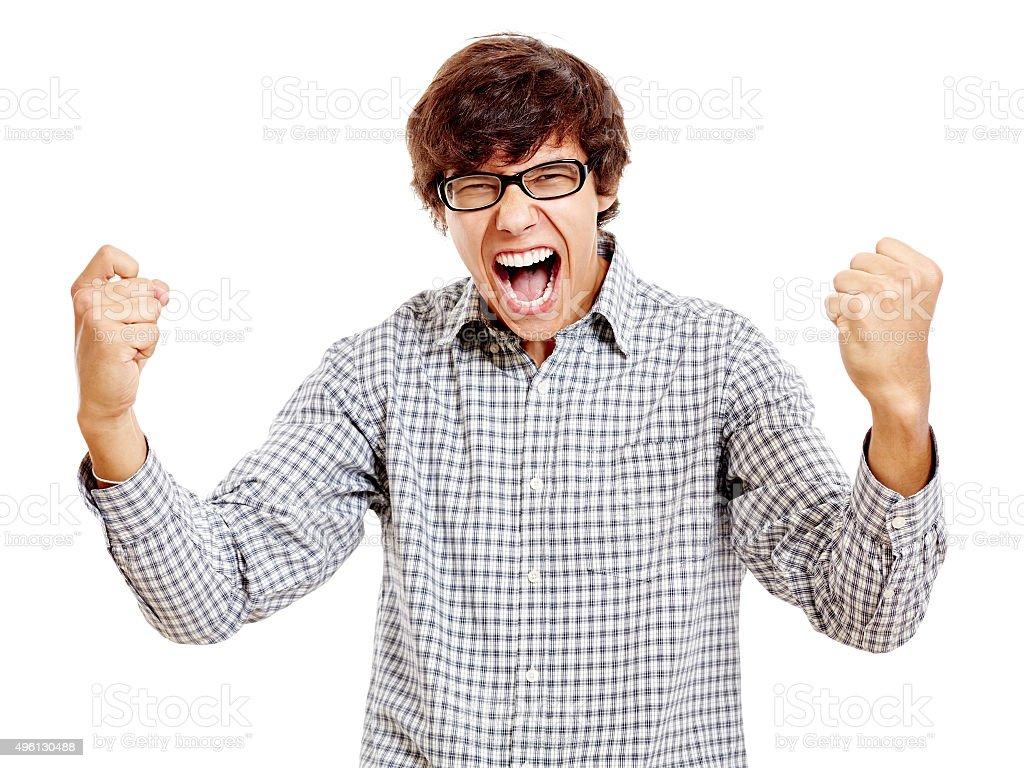 Guy celebrating win stock photo