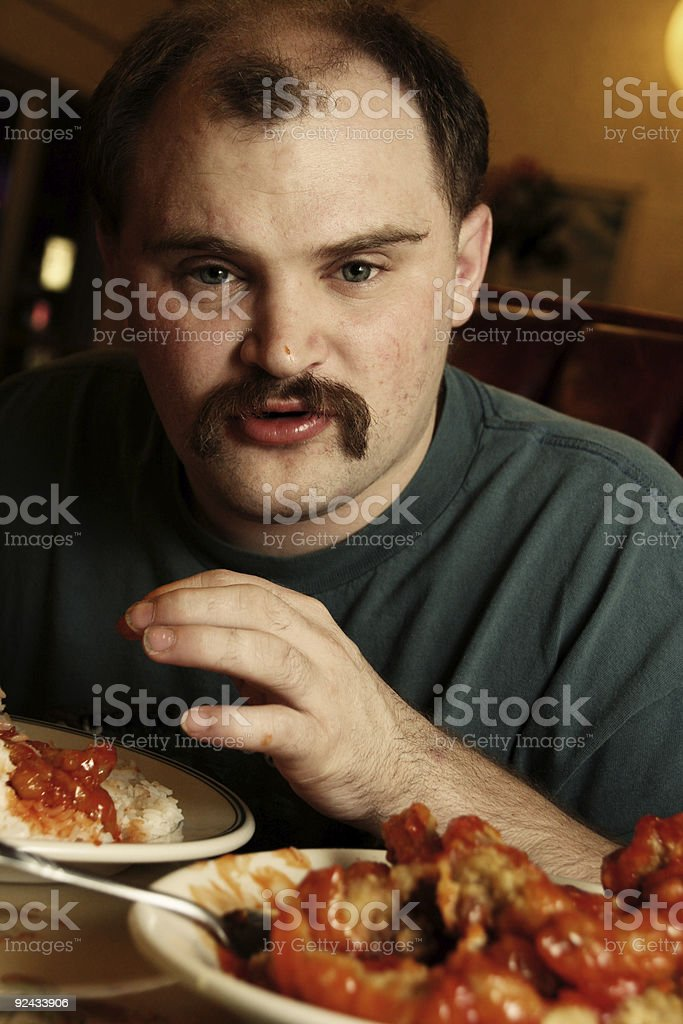 Guy Eating Chinese Food for Dinner royalty-free stock photo
