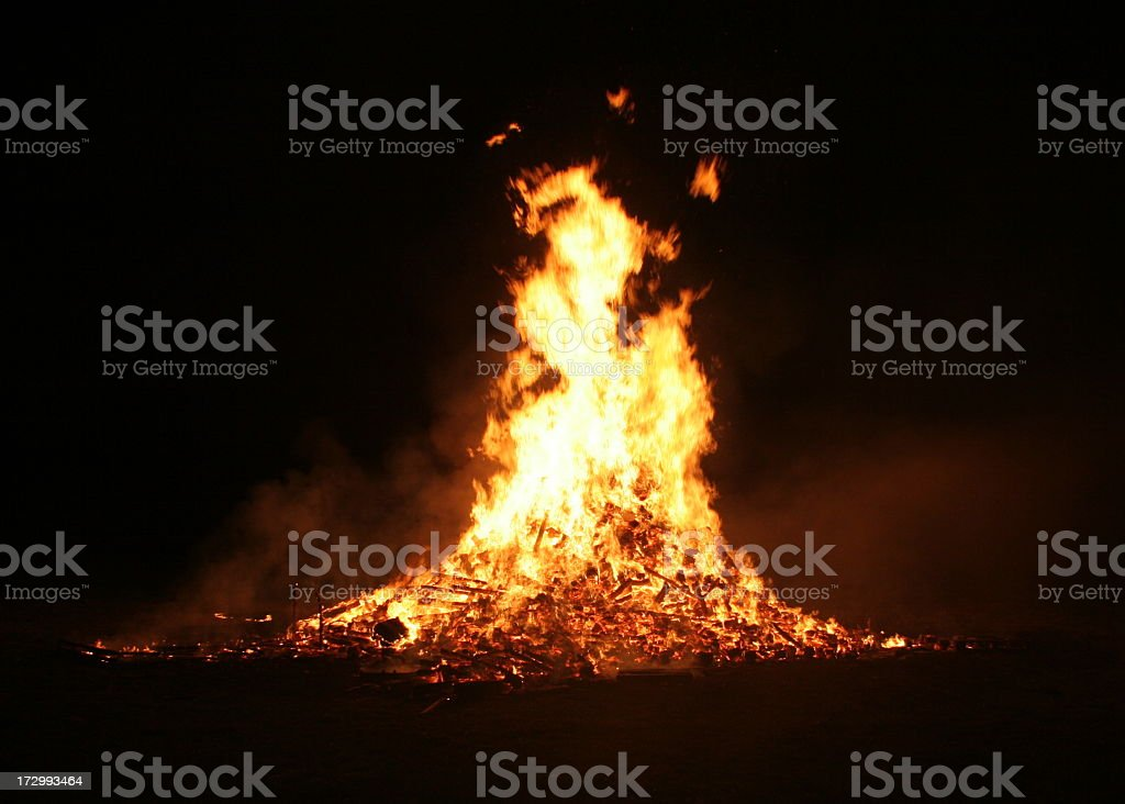 Guy Fawkes bonfire with large flames royalty-free stock photo