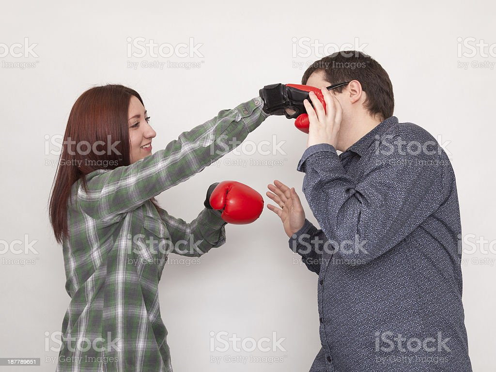 Guy get hit by Girl Boxer royalty-free stock photo