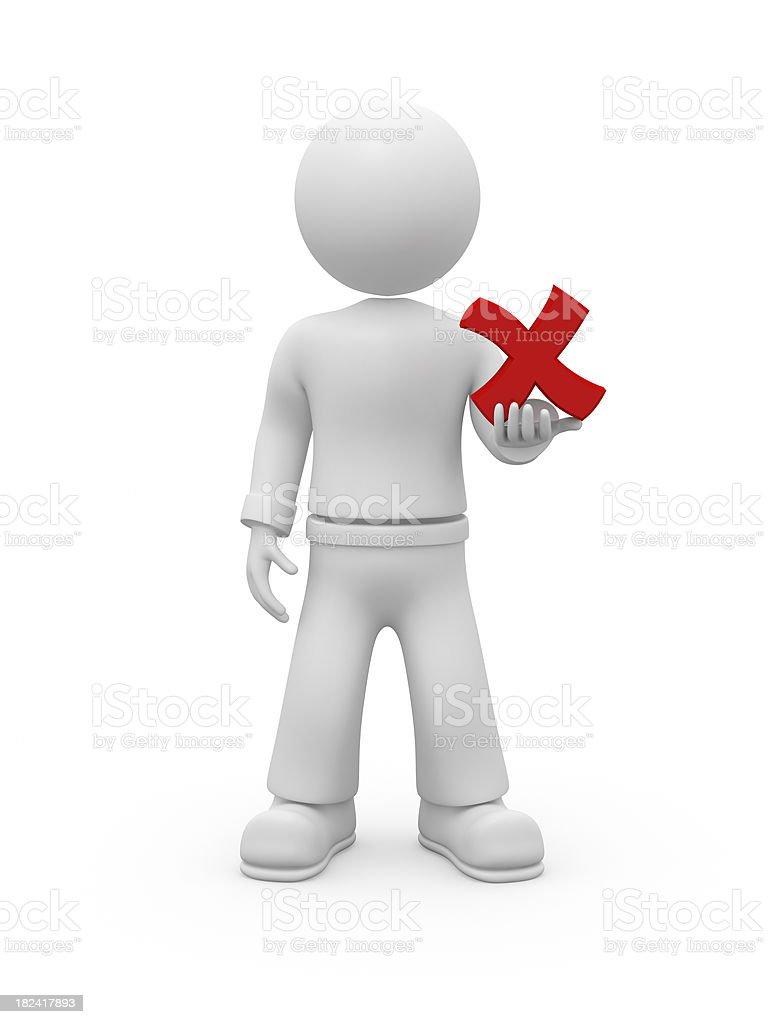 3D guy holding NO chekmark. stock photo