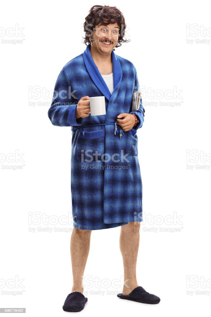 Guy in a blue bathrobe stock photo