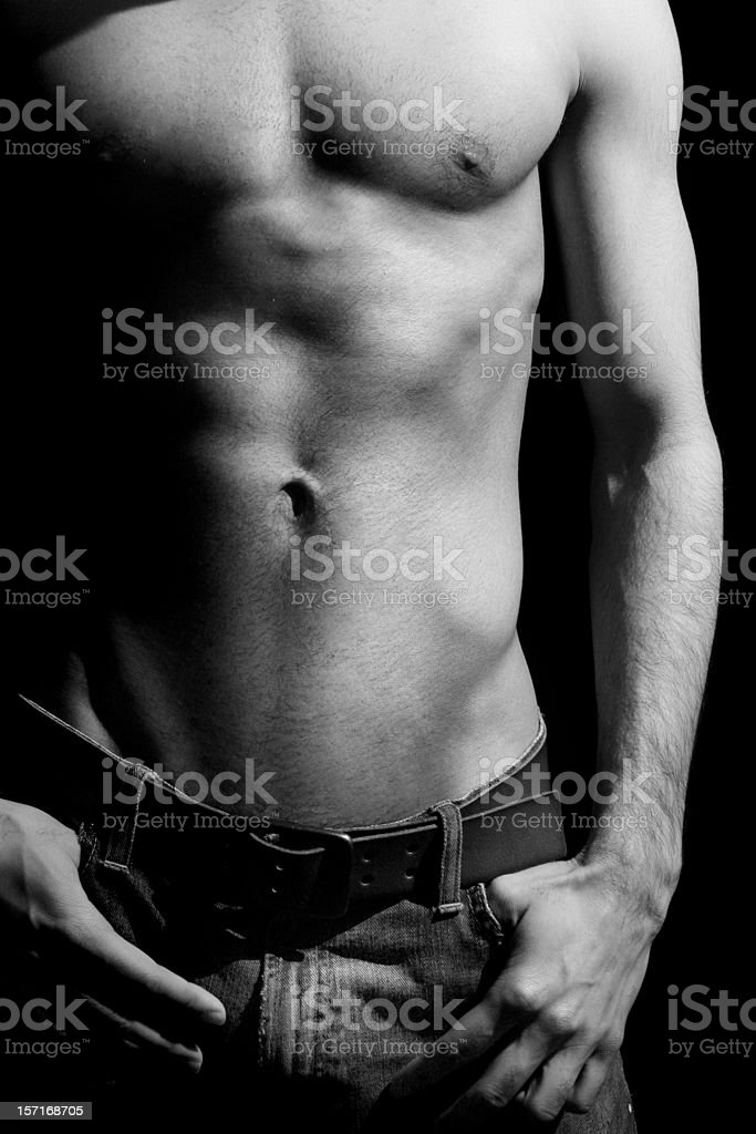 Guy in jeans b/w royalty-free stock photo
