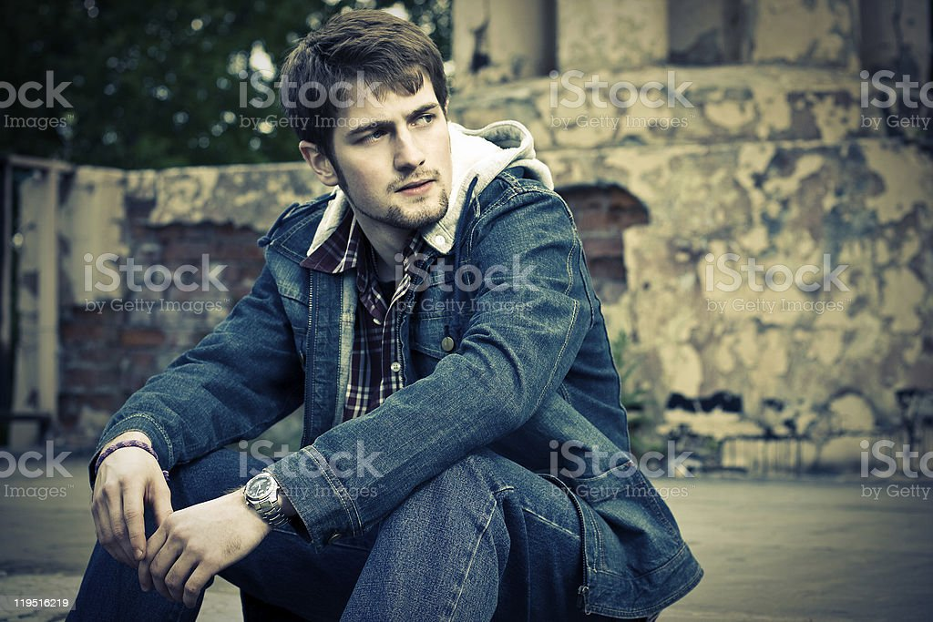 Guy in jeans clothes stock photo