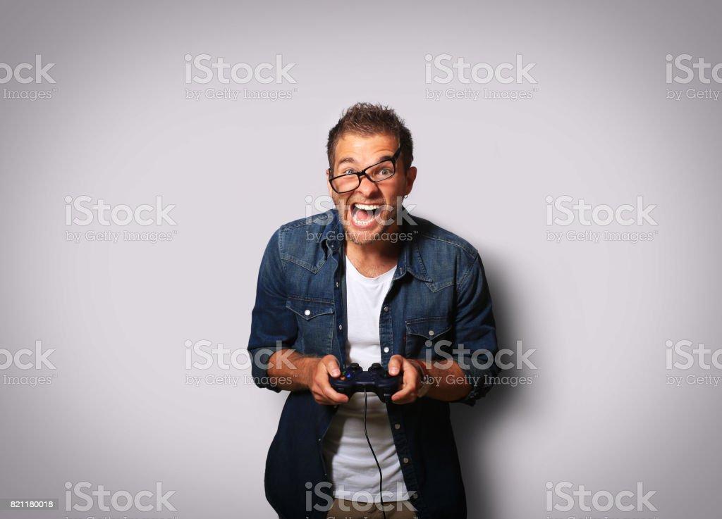 Guy in the denim shirt stock photo