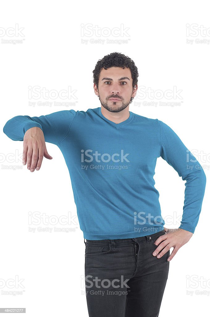 Guy leaning on an invisible object stock photo