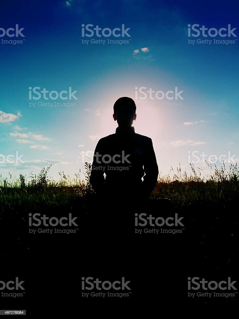 Guy on a background of the sun stock photo