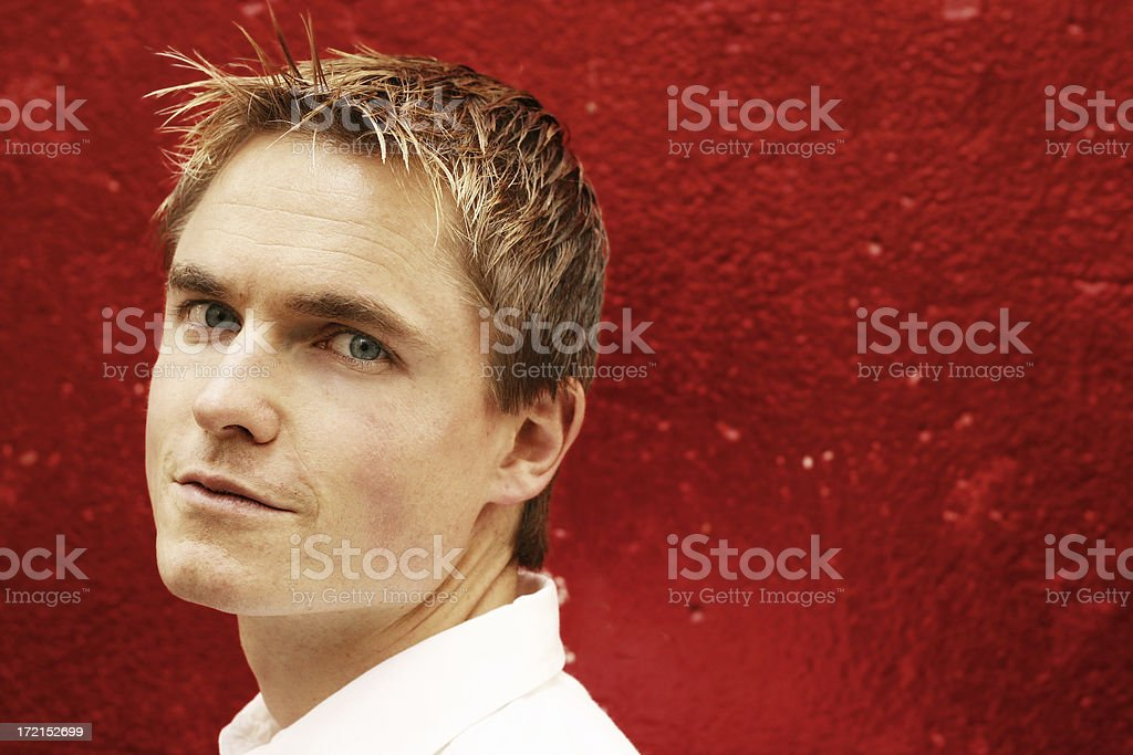 Guy on Blood Red royalty-free stock photo
