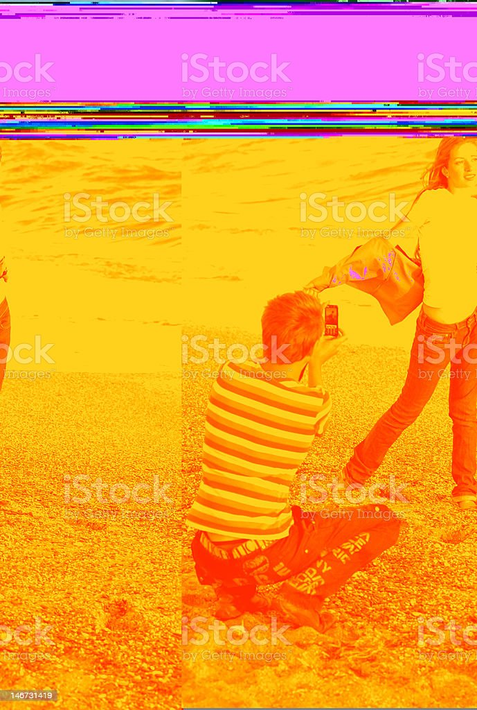 guy photograph girl on cellphone royalty-free stock photo