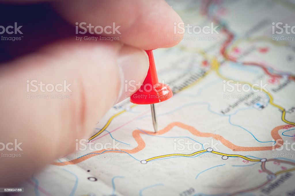 Guy planing for a trip stock photo