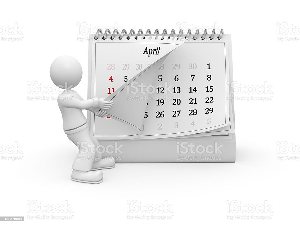3D guy turning over the calendar page. April. royalty-free stock photo