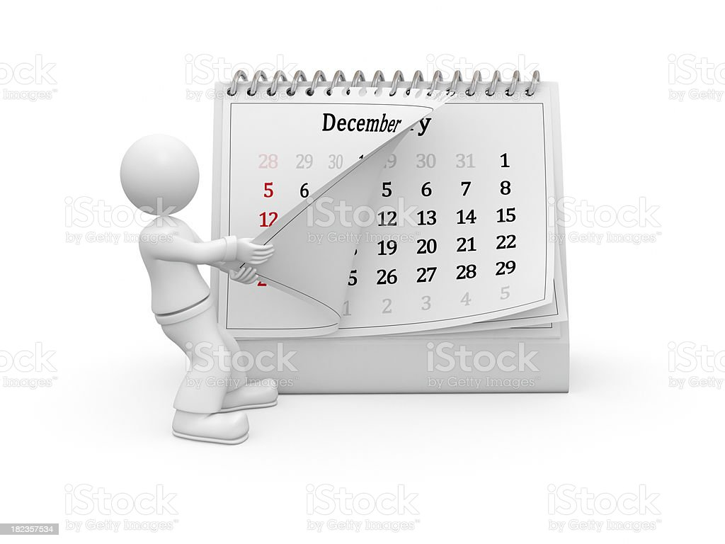 3D guy turning over the calendar page. December. royalty-free stock photo