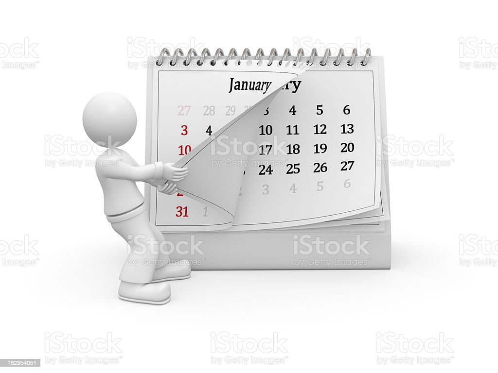 3D guy turning over the calendar page. January. royalty-free stock photo