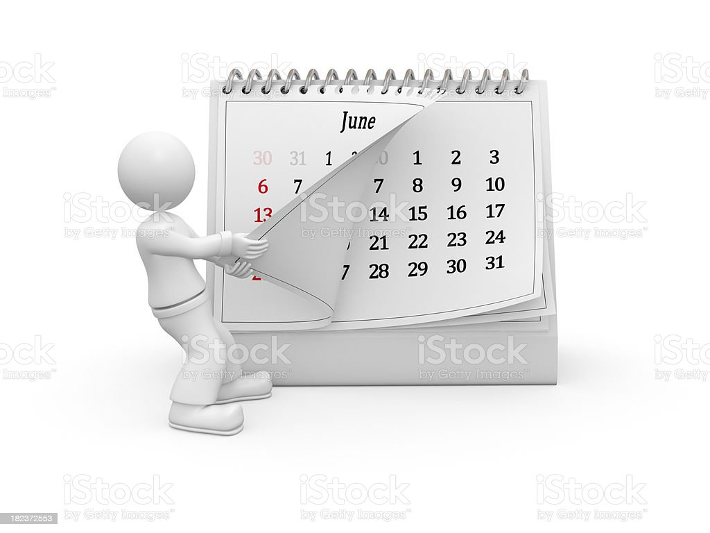 3D guy turning over the calendar page. June. royalty-free stock photo