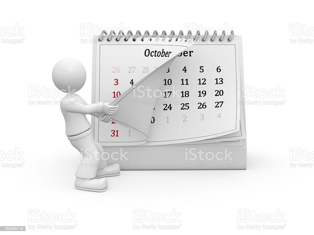 3D guy turning over the calendar page. October. royalty-free stock photo