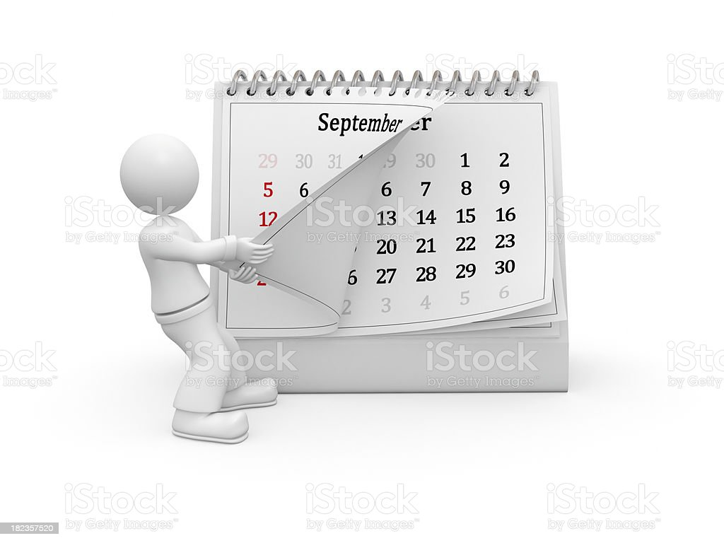 3D guy turning over the calendar page. September. royalty-free stock photo