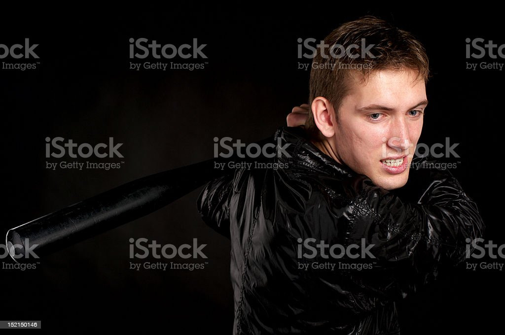 Guy with a baseball bat royalty-free stock photo