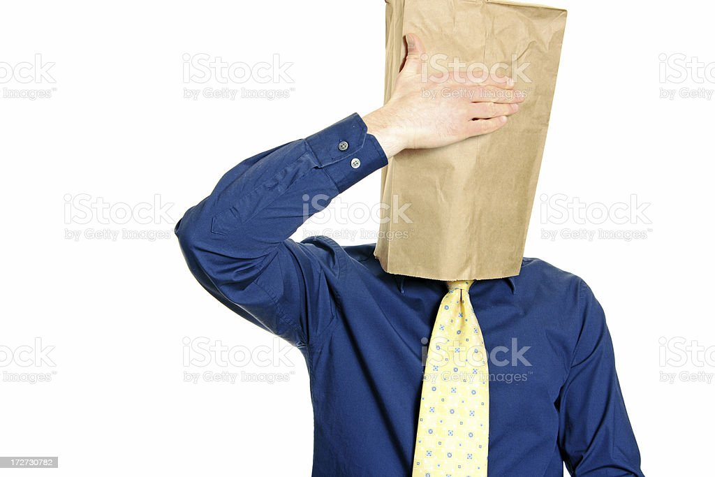 Guy with a paper bag series royalty-free stock photo