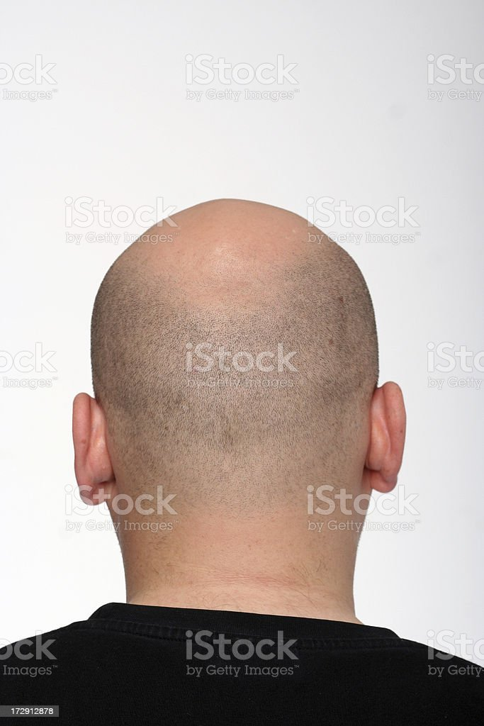 Guy with bald head from the back royalty-free stock photo