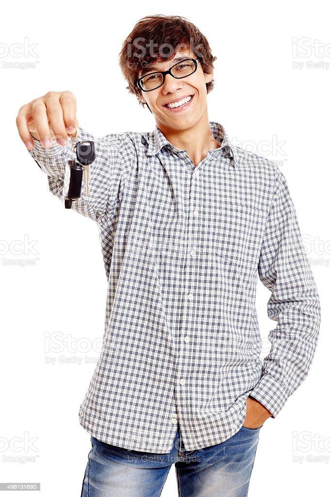 Guy with car keys stock photo