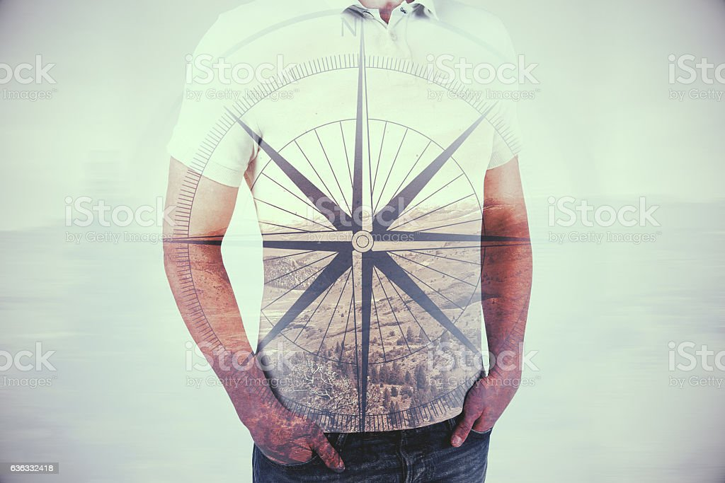 Guy with compass stock photo