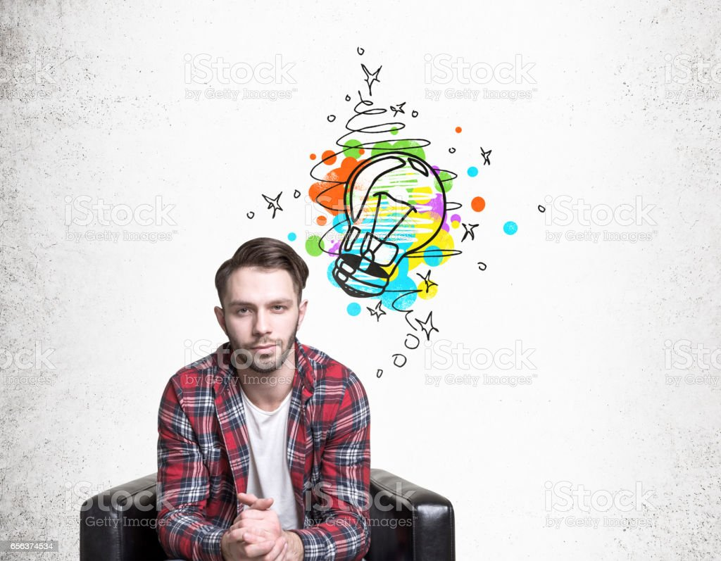 Guy with creative ideas stock photo