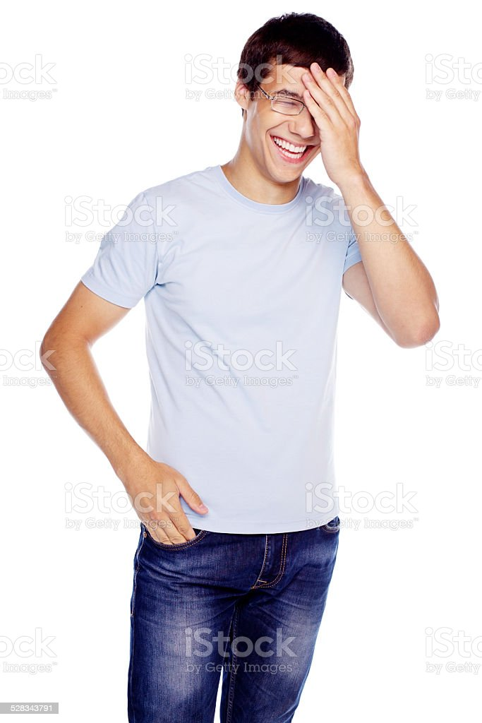 Guy with hand on his head stock photo