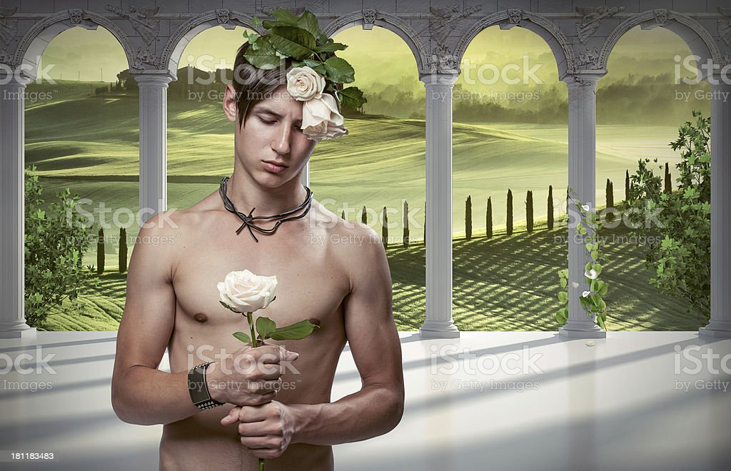 Guy with rose on italian background royalty-free stock photo