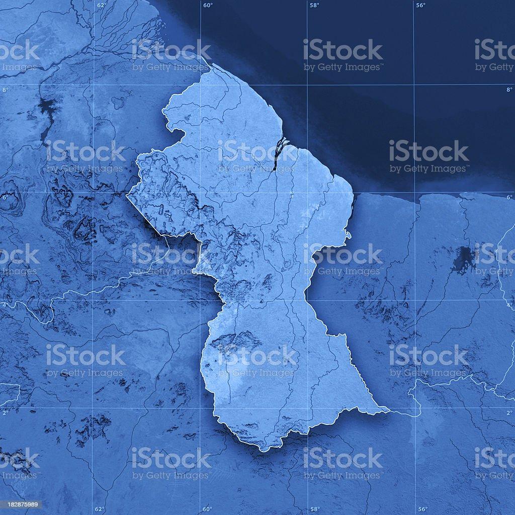 Guyana Topographic Map royalty-free stock photo