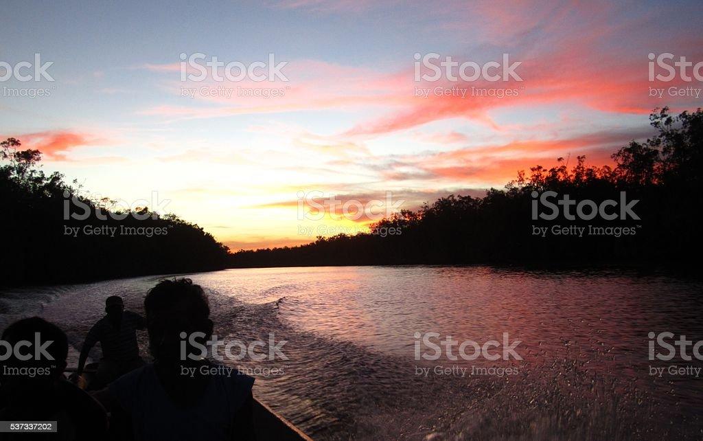 Guyana waterway sunset stock photo