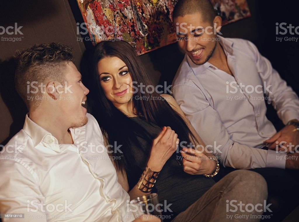 Guys Hanging Out with a Female Friend royalty-free stock photo
