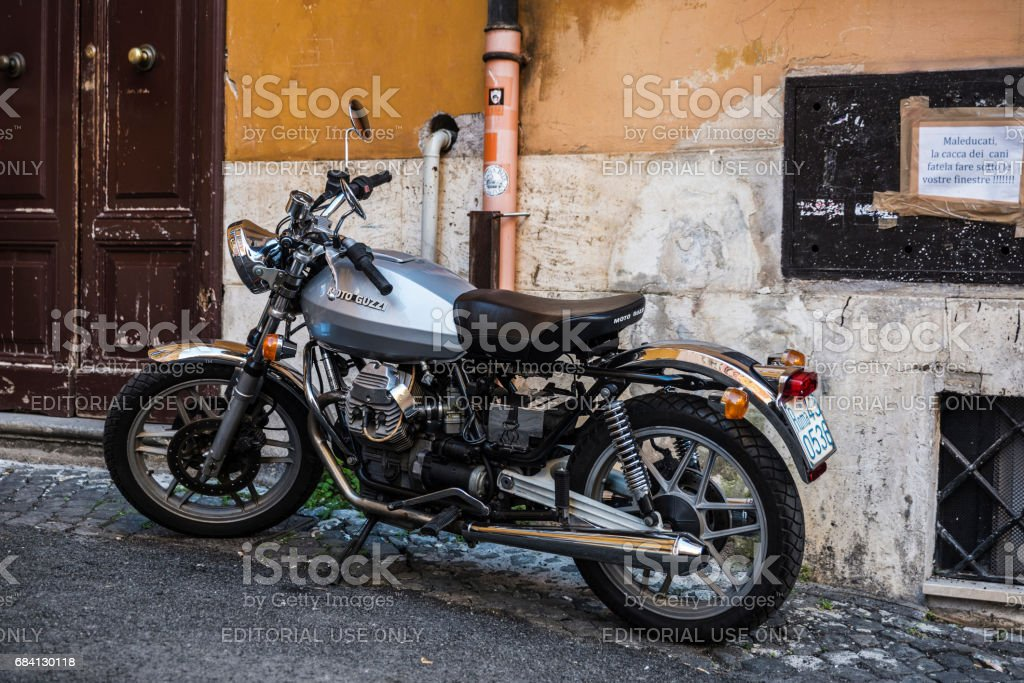 Guzzi motorcycle parked in Rome, Italy stock photo