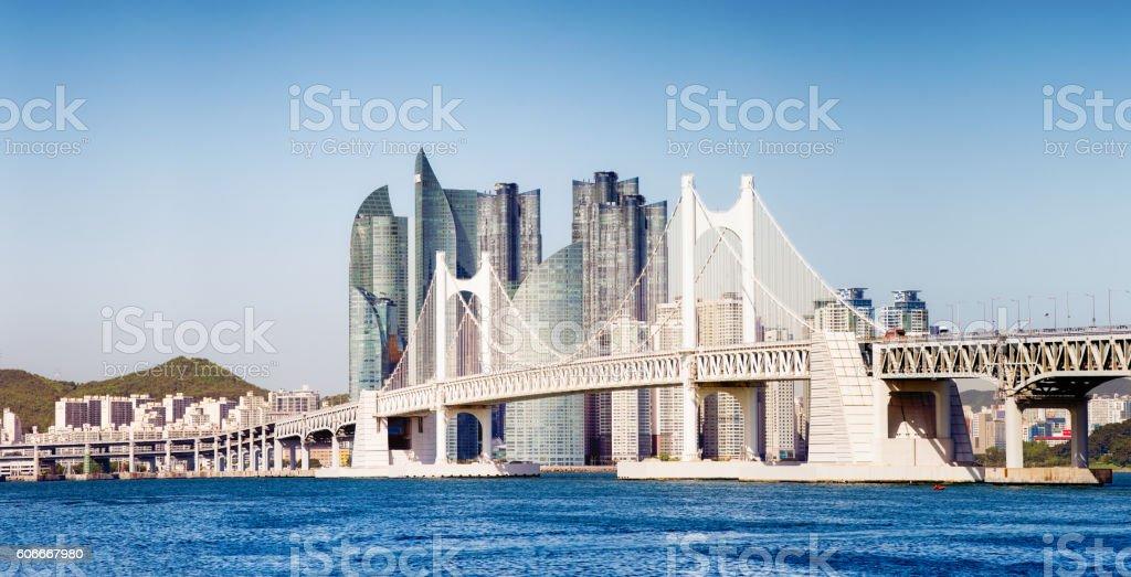 Gwangandaegyo Bridge in Busan South Korea with modern buildings panorama stock photo