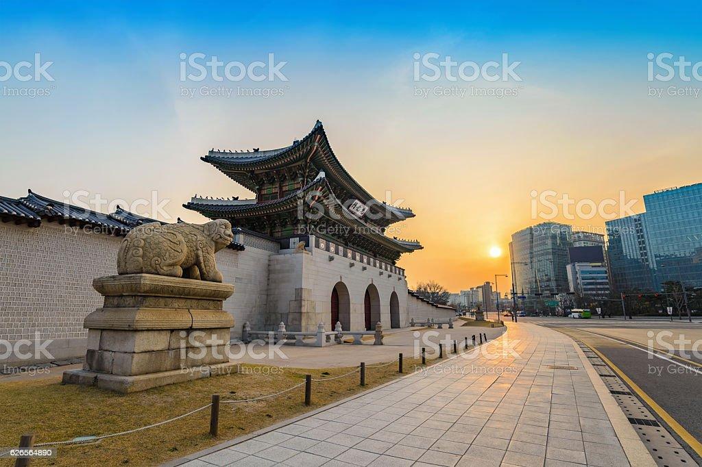 Gwanghwamun Gate when sunrise, Seoul, South Korea stock photo