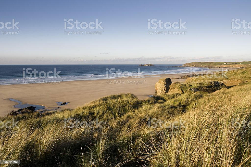 Gwithian and Godrevy beach on the coast of Cornwall stock photo