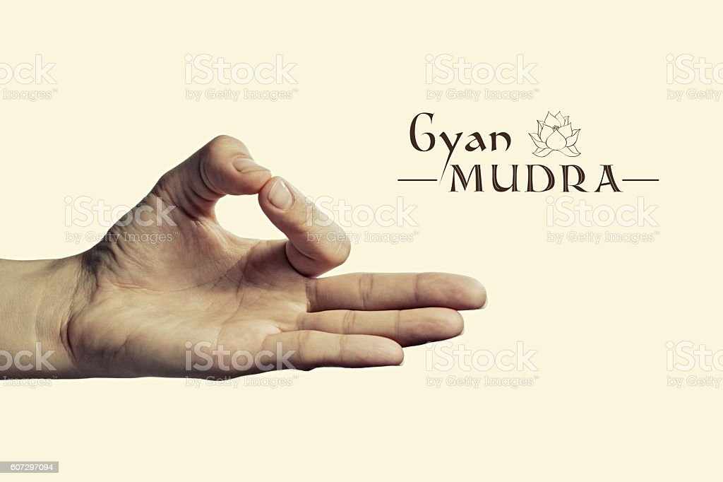 Gyan mudra color stock photo
