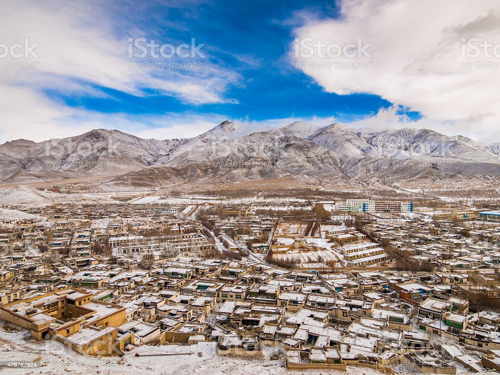 Gyantse in Tibet aerial view from Dzong stock photo