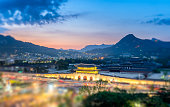 Gyeongbokgung palace at night in Seoul, South Korea