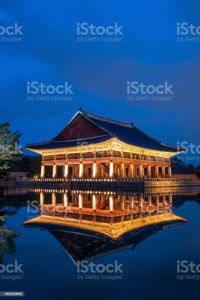 Gyeongbokgung Palace at night in seoul,Korea. stock photo