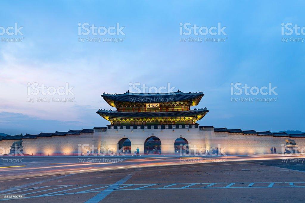 Gyeongbokgung Palace at night in seoul,Korea stock photo