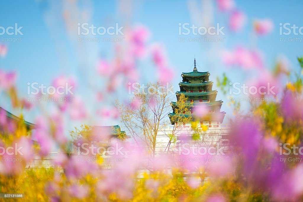 Gyeongbokgung palace in Spring, Seoul stock photo