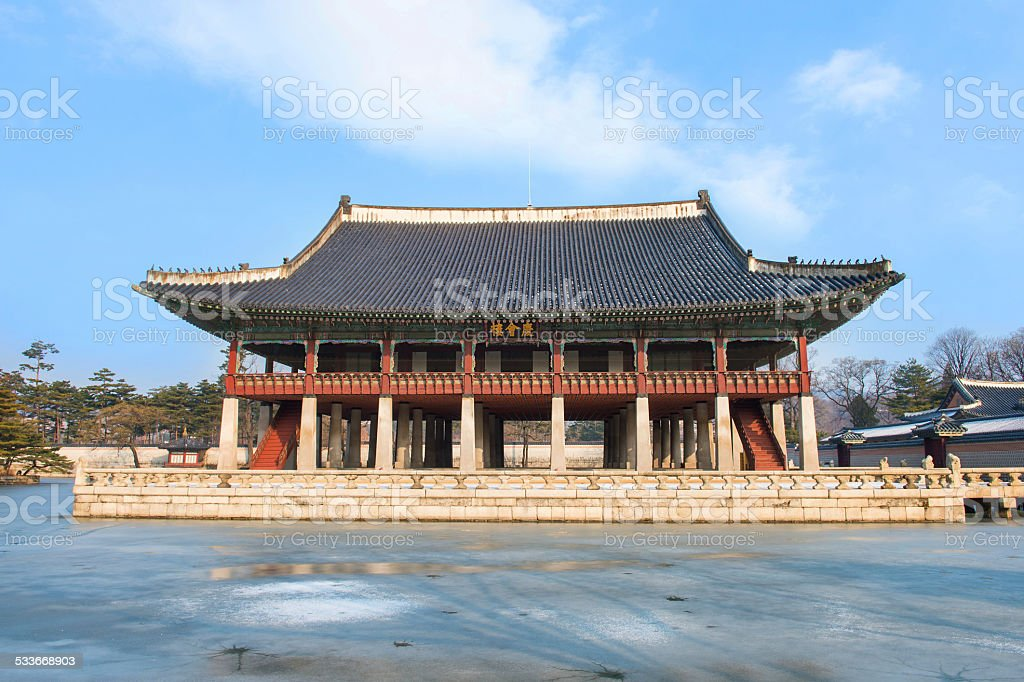 Gyeongbokgung palace in winter stock photo