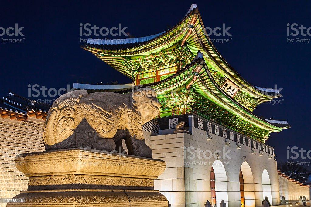 Gyeongbokgung Palace night stock photo