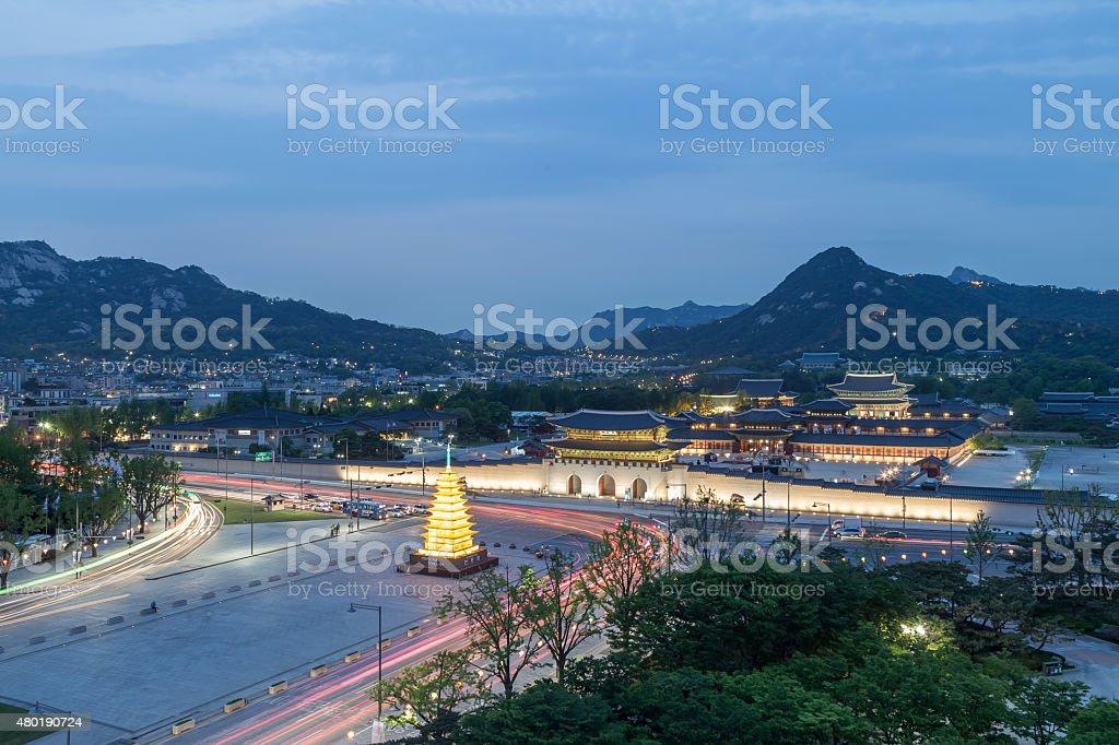 Gyeongbokgung Palace Night View stock photo