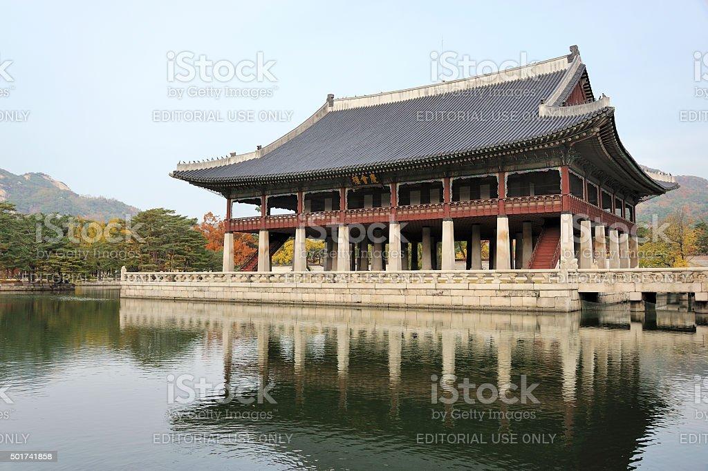 Gyeonghoeru, an open two story pavilion stock photo