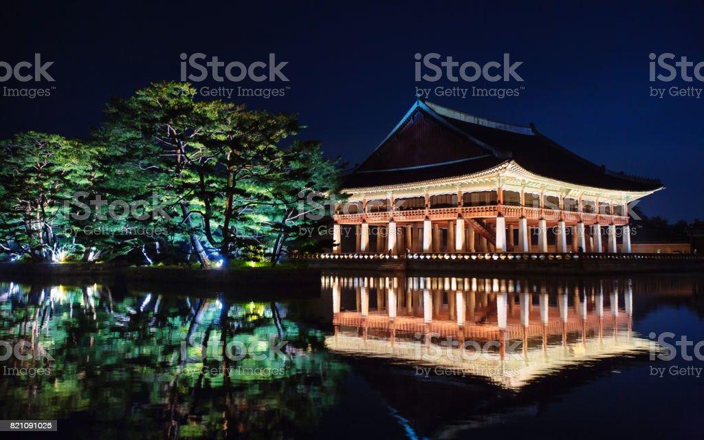 Gyeonghoeru at Gyeongbokgung Palace in Seoul, Korea stock photo
